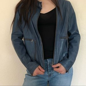 ***Blue leather jacket***